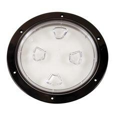 "Beckson 8"" Clear Center Screw-Out Deck Plate - Black - https://www.boatpartsforless.com/shop/beckson-8-clear-center-screw-out-deck-plate-black/"