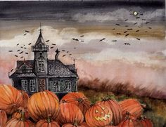 I love Halloween and autumn. Anyone wanna join me for a Halloween party just ask, okay? And don't be afraid to ask me anything, halloween/autumn related or not! Retro Halloween, Spooky Halloween, Halloween Chat Noir, Halloween Kunst, Photo Halloween, Halloween Artwork, Halloween Painting, Halloween Haunted Houses, Halloween Pictures