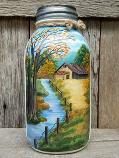 Fall farm scene hand painted on half gallon kerr mason jar kerr mason jars, Painted Milk Cans, Painted Wine Bottles, Lighted Wine Bottles, Painted Wine Glasses, Painted Mason Jars, Painting Glass Jars, Bottle Painting, Glass Art, Glass Bottle Crafts