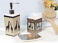 Bathroom Set 3 pc set Ceramic Soap Lotion Dish Tumbler Animal Print Theme New #Midwood #AnimalTheme