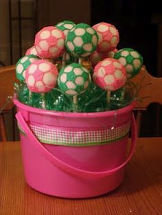 Soccer Ball Cake Pops & Cookies love this for a little girl