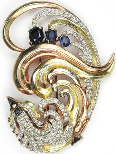 Trifari Pave Sapphires and Yellow and Rose Gold 'Alfred Philippe' Stylized Bird Pin Clip