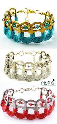 No. Diy Bracelet, Pop Tab Bracelet, Soda Can Bracelet, Bracelet Making, Bottle Cap Bracelet, Bottle Caps, Bottle Cap Jewelry, Beaded Bracelet, Crochet Cowel