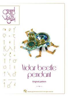 Vidar beetle pendant with Swarovski rivoli – PDF instruction for personal use only by beadsbyvezsuzsi on Etsy