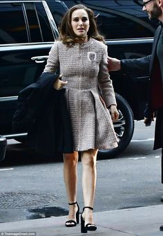 Classic: Natalie Portman wore a stylish Chanel tweed dress as she headed to a party in NYC on Sunday evening