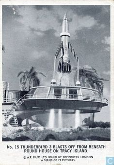 Trading card - Somportex Black / White (Large) - Thunderbird 3 blasts off from beneath round house on Tracy Island. Thunderbird 1, Thunderbirds Are Go, Central City, Lost In Space, Round House, Trading Cards, Super Cars, Island, Mansions