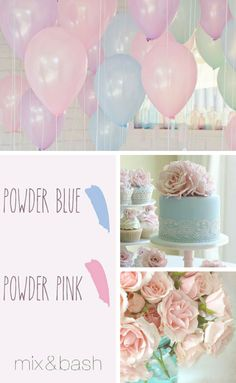 Bridal Shower Colors, Color Combos, Color Schemes, Beach Cottage Decor, Powder Pink, Looking Gorgeous, Balloons, Place Card Holders, Chic