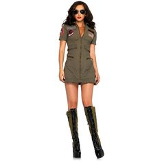 Sexy Top Gun Flight Dress Womens Costume ($55) ❤ liked on Polyvore featuring costumes, halloween costumes, multicolor, top gun halloween costume, ladies costumes, top gun womens costume, sexy adult costumes and sexy costumes