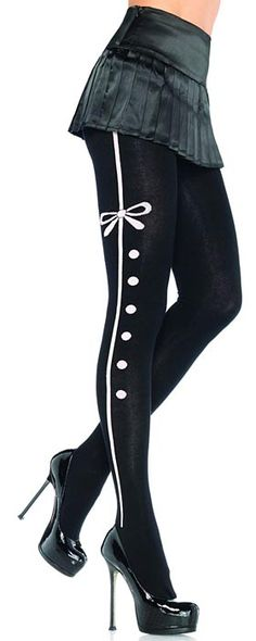 Leg Avenue Acrylic tights with contrast tuxedo stripe and bow detail O/S BLACK Nylons, Striped Tights, Black Tights, Patterned Tights, Opaque Tights, Black Heels, Cool Tights, Funky Tights, Bodysuit