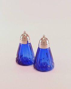 cobalt and silver salt and pepper shaker