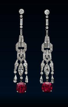 A Pair of Art Deco Ruby and Diamond Pendant Earrings, circa 1920 Bijoux Art Nouveau, Art Nouveau Jewelry, Jewelry Art, Antique Jewelry, Vintage Jewelry, Fine Jewelry, Ruby Earrings, Art Deco Earrings, Pendant Earrings