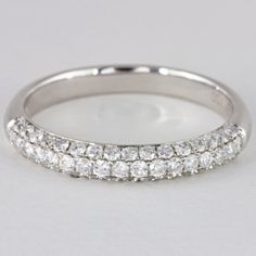 18k White Gold 61 Brilliant Cut Pave Set Diamond Band .65ctw - $1678.00 via Carmen's Ever After Diamond Bands, Diamond Engagement Rings, White Gold, Wedding Rings, Jewellery, Watches, Jewels, Wristwatches, Schmuck