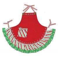 """Hand painted red fabric apron with flirty green and polka dot ruffle skirt. Apron is blank for personalization and pocket is designed to look like a present with red and white striped ties. 27 1/2"""" H"""
