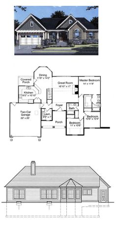 Bungalow House Plan 50038 | Total Living Area: 1509 sq. ft., (167.67m2) 3 bedrooms & 2 bathrooms. #homeplans