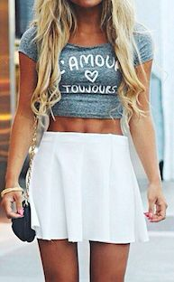 Crop top & skater shirt. Get student discounts on trendy fashion brands