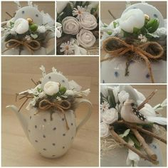 Pin by Shay Tyler on Spring tea Cup Crafts, Easter Crafts, Diy And Crafts, Christmas Advent Wreath, Christmas Diy, Christmas Decorations, Flower Crafts, Flower Art, Floral Centerpieces