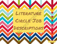 Literature Circle Job Descriptions from Classrooms Matter on TeachersNotebook.com -  (9 pages)  - Literature Circle Job Descriptions