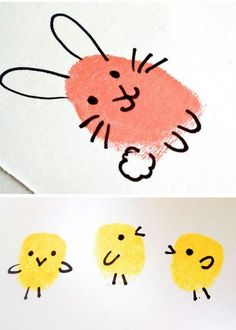 15 colorful spring kids crafts - frugal and simple kids crafts and art activities for spring. Easter DIY projects for children Spring Activities, Art Activities, Spring Crafts For Kids, Kids Crafts, Fingerprint Crafts, Quick Crafts, Footprint Art, Easter Art, Animal Crafts