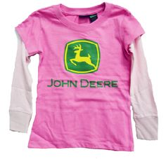 John Deere Little Girls Hangdown T-Shirt Heliconia (Size Cute heliconia/hot pink tee with lighter pink sleeves. Double layer look. John Deere Kids, John Deere Baby, My Baby Girl, Pink Girl, Brand Expert, Outdoor Brands, Shirts For Girls, Little Girls, Kids Outfits