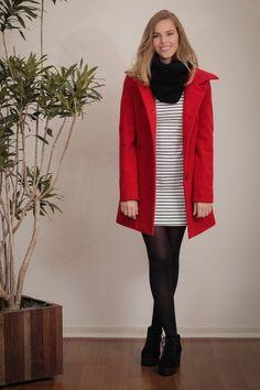 Oferta: casaco comprido de lã (ref: 5321). Compre Casacos Tita Catita aqui em 3x sem juros. Você vai amar.