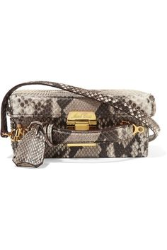 Taupe and black python Push clasp fastening at top Comes with dust bag Python: Indonesia Weighs approximately 1.5lbs/ 0.7kg Made in Italy