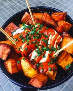 Sweet potatoes > regular potatoes, and the same goes for patatas bravas.