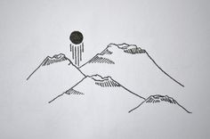 Image de drawing, mountains, and sun
