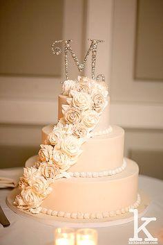 White & Tan Wedding Cake, Flower & Initial topper, NJ Wedding photography, Stone House at Stirling Ridge