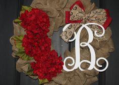 Christmas Wreath - Burlap Wreath - Etsy Wreath - Fall Wreaths for door - Wreaths for door  - Door Wreath - Monogram wreath - Door Wreaths on Etsy, $85.00