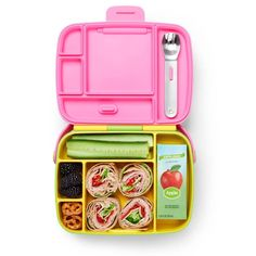 Munchkin Bento Box Yellow/Pink — Oh Baby! Toddler Lunch Box, Toddler Lunches, Stainless Steel Utensils, Bento Box Lunch, Lunch Snacks, Lunch Recipes, Healthy School Lunches, Unisex, Nutritious Meals
