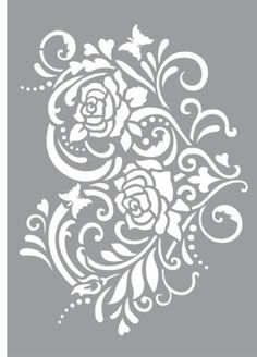 any way to get this without the butterflies? if we put tape on it will it take out butterflies. Put hummingbirds where butterflies are? Rose Stencil, Stencil Diy, Stenciling, Flower Stencils, Stencil Templates, Stencil Designs, Printable Stencil Patterns, Paper Art, Paper Crafts