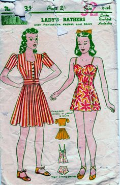Ladies 1940s bathers pattern only.  32 bust by InLaurelsCloset, $15.00