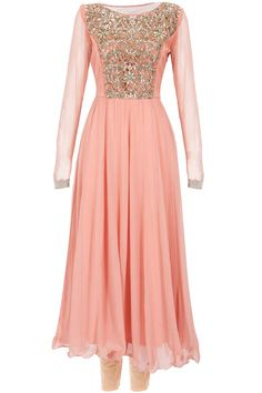 Peach cut work embroidered anarkali set available only at Pernia's Pop-Up Shop.
