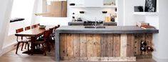 Afbeeldingsresultaat voor keuken steigerhout