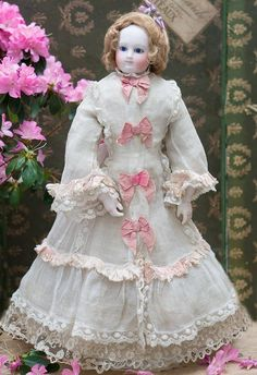 """18"""" (46 cm) Antique Superb French Bisque Wooden-Bodied Fashion doll from respectfulbear on Ruby Lane"""