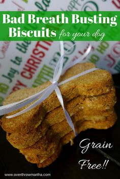 This homemade dog treat recipe has peppermint for a seasonal twist that banishes bad dog breath!