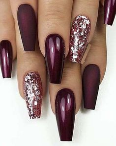 Fantastic Matte & Glossy Long Coffin Nail Designs in 2019 Nail Design . Fantastic Matte & Glossy Long Coffin Nail Designs in 2019 Nail Design White, Glitter and Crystals on long Coffin Nails? Coffin Nails Long, Long Nails, My Nails, Matte Nails, Glitter Nails, Fall Nails, Summer Nails, Star Nails, Shellac Nails