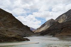 The silty Zanskar river becomes slow and sluggish because of the silt it carries down from the mountains. This river flows through the Zanskar Range (a mountain range in the Indian state of Jammu and Kashmir that neighbours Ladakh). The Zanskar river joins the Indus river just a short distance from where this phot was taken.
