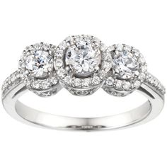 Three Stone 2.42ctw Prong Set  Cubic Zirconia  w/a .75 Round Center 10K Gold Promise Wedding Anniversary Fashion Ring by TwoBirchJewelers on Etsy https://www.etsy.com/listing/163521973/three-stone-242ctw-prong-set-cubic