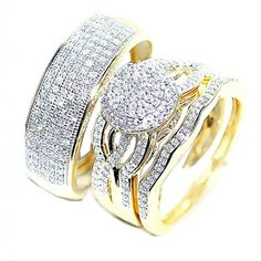 10k gold his and her rings trio set extra wide 18mm 07ct diamonds rings - Amazon Wedding Rings