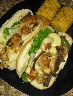 Steak shrimp and chicken hoagie with smoked Gouda and pepper jack cheese. I don't have a real recipe. I just kinda cooked everything separately and then combined. In one pan caramelize some green peppers and oinons and then deglaze the pan with coke. Grilling Recipes, Seafood Recipes, Cooking Recipes, Cooking Videos, Slow Cooking, Tacos, Food Goals, Aesthetic Food, Food Cravings
