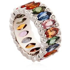 Niquesa Women Amore Rainbow Sapphires Ring ($8,195) ❤ liked on Polyvore featuring jewelry, rings, accessories, multi, sapphire jewelry, multi colored sapphire ring, sapphire jewellery, colorful jewelry and tri color jewelry