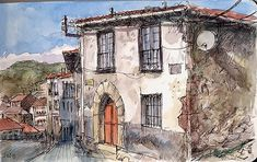 Delicate combination of pen hatching and watercolour to create interesting textures for the walls of the buildings.
