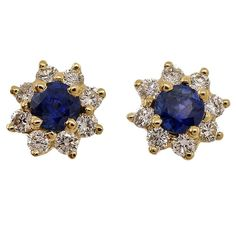 Tiffany & Co. Sapphire Diamond Yellow Gold Cluster Earrings | From a unique collection of vintage more earrings at https://www.1stdibs.com/jewelry/earrings/more-earrings/