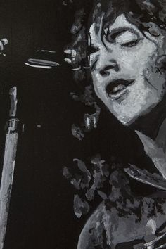 Portrait of musician Rory Gallagher singing into a microphone. Black and white acrylic. Rory Gallagher, White Acrylics, Daisy, Black And White, Portrait, Art, Art Background, Daisies, Black White
