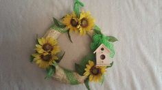 Decorate your home with this beautiful birdhouse wreath!  14 inch $40.00 USD