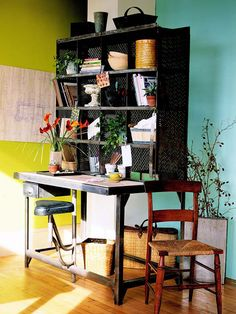 """An antique mail-sorting station from a Paris flea market finds new life in America as office storage. To get a similar look, keep your eyes peeled when shopping secondhand stores and salvage yards for industrial cabinets and cubbies reclaimed from schools or shops. These pieces usually get an """"A"""" for adaptability"""