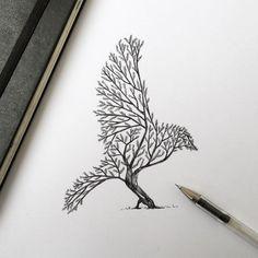 Силуэт птицы из веток деревьев