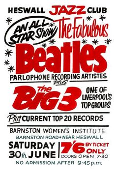 The Beatles Poster Heswall Jazz Club Print Vintage Concert Memorabilia Gift Groups Poster, Club Poster, Print Poster, Vintage Music, Vintage Movies, Vintage Rock, Pop Posters, Music Posters, Event Posters