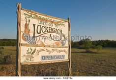 Texas Hill Country Luckenbach General Store Bar Dance Hall sign - Stock Image